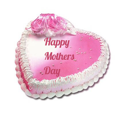 Happy Mothers Day Heart Shape Strawberry Cake