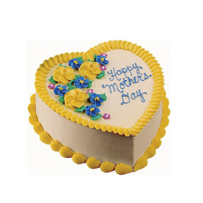 Happy Mothers Day Heart Shape Vanilla Cake