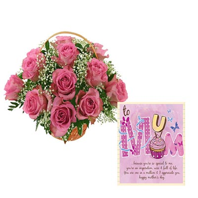 Pink Roses Basket With Mothers Day Card