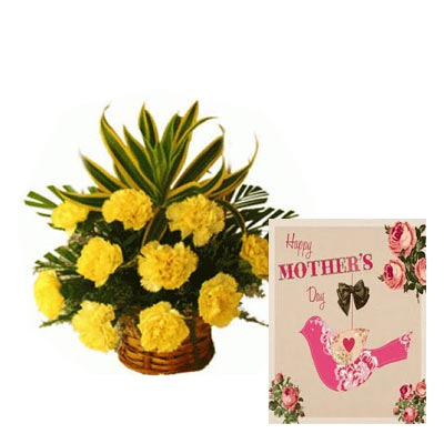 Yellow Carnation Basket With Mothers Day Card