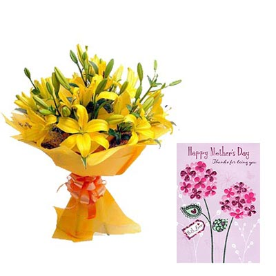 Yellow Lily Bouquet With Mothers Day Card