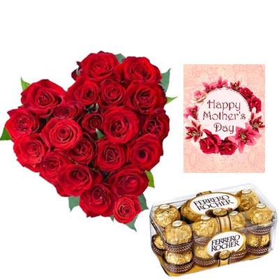 Roses Heart and Ferrero Rocher With Mothers Day Card