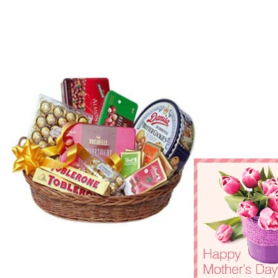 Basket of Imported Chocolates With Mothers Day Card