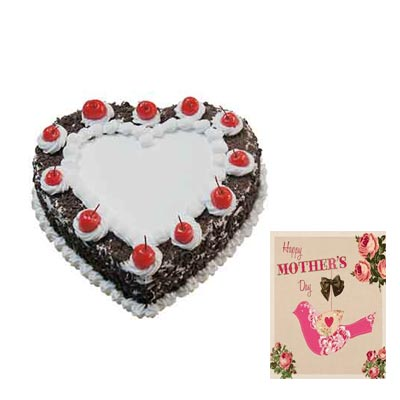 Heart Shape Black Forest Cake with Mothers Day Card