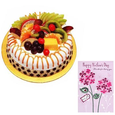 Mothers Day Fruit Cake with Mothers Day Card