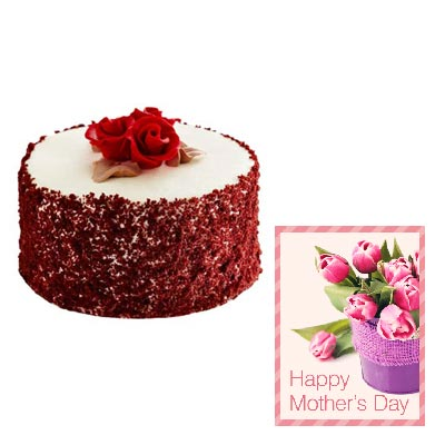 Mothers Red Velvet Cake Cake with Mothers Day Card