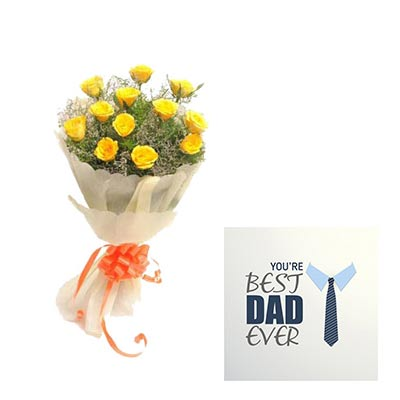 Yellow Roses Bouquet With Fathers Day Card