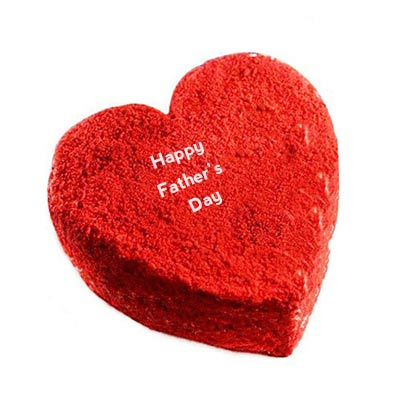 Happy Fathers Day Heart Shape Red Velvet Cake