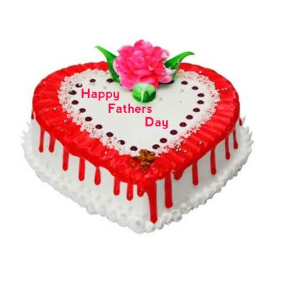 Happy Fathers Day Heart Shape Strawberry Cake