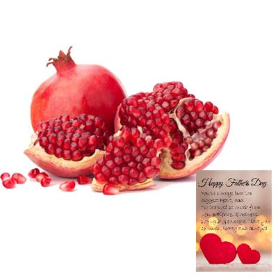 Fresh Pomegranates With Fathers Day Card