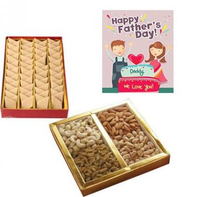 Dry Fruits and Kaju Burfi With Fathers Day Greeting