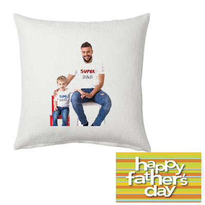 Personalized Dad Photo Cushion & Greeting Card