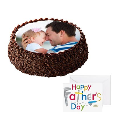 Fathers Day Chocolate Photo Cake With Fathers Day Card