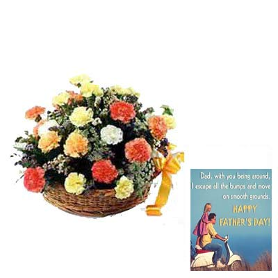 Mixed Carnation Basket with Fathers Day Card