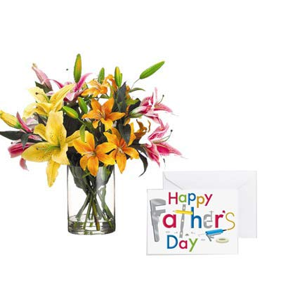 Mixed Lily Vase with Fathers Day Card