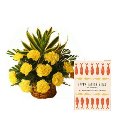 Yellow Carnation Basket with Fathers Day Card