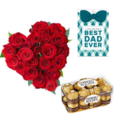 Roses Heart and Ferrero Rocher With Fathers Day Card