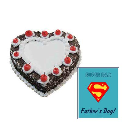 Heart Shape Black Forest Cake with Fathers Day Card