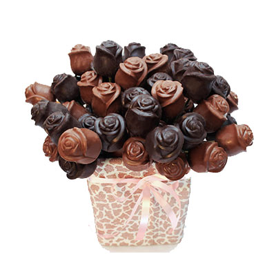 Dark and Milk Chocolate Roses pack of 50