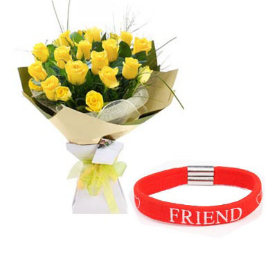 Yellow Roses With Friendship Band
