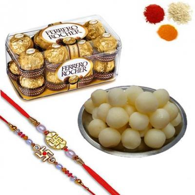 Rakhi with Rasgulla and Ferrero Rocher