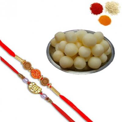 Rakhi Set with Rasgulla Sweets