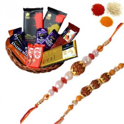 Rudraksh Rakhi with Chocolate Basket