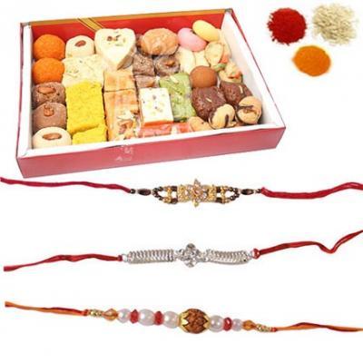 Rakhi Set with Mixed Sweets