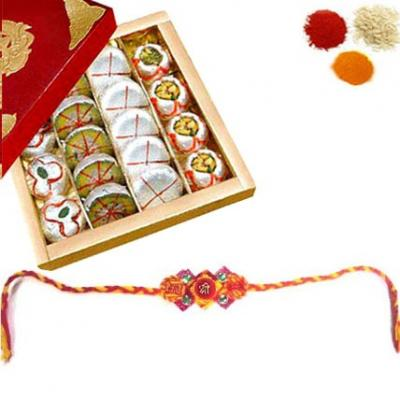 Rakhi with Assorted Khoya Sweets