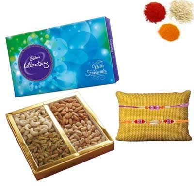 Rakhi with Chocolates and Dry Fruits