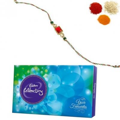 Stone Rakhi with Cadbury Celebration