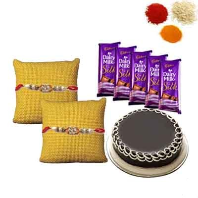 Rakhi with Chocolates and Cake