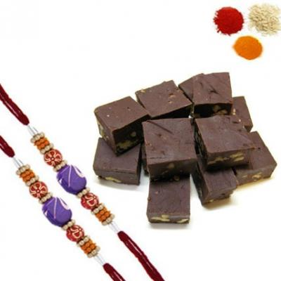 Rakhi with Chocolate Burfi
