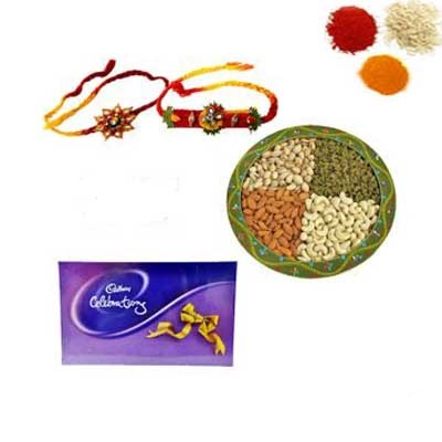 Rakhi with Chocolate and Dry Fruits