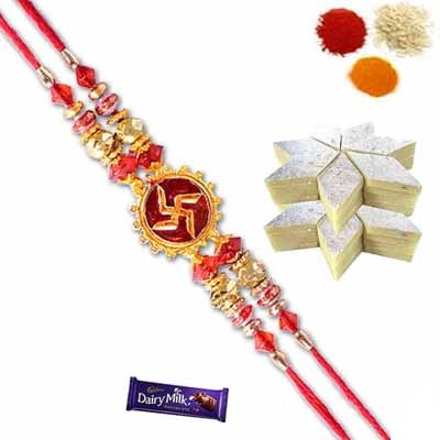 Divine Rakhi with Kaju Katli and Chocolate
