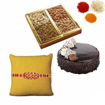 Rakhi with Dry Fruits and Cake