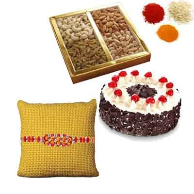 Rakhi with Cake and Dry Fruits