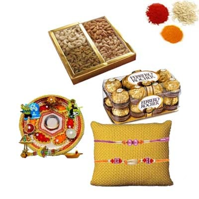 Rakhi Pooja Thali with Chocolates and Dry Fruits
