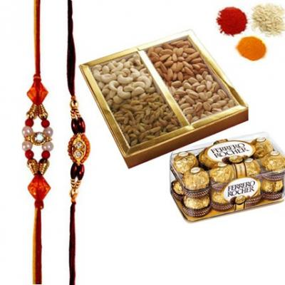 Rakhi with Dry Fruits and Ferrero Rocher