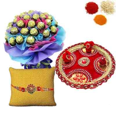 Rakhi Thali with Ferrero Rocher Bouquet