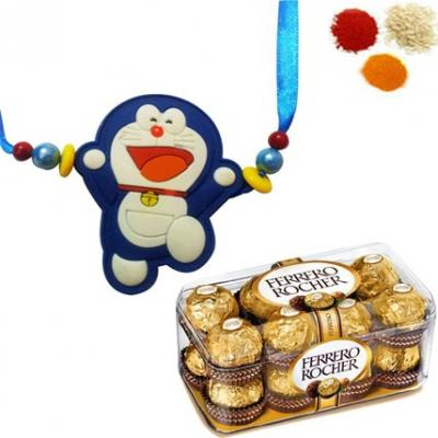 Doremon Rakhi with Ferrero Rocher