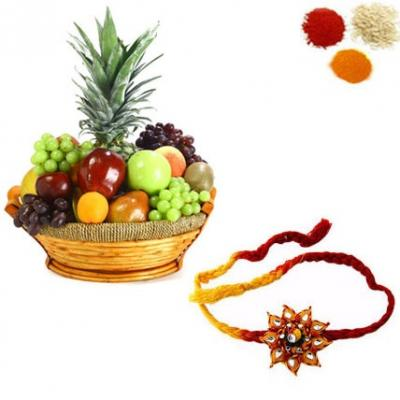 Rakhi with Fresh Fruits Basket