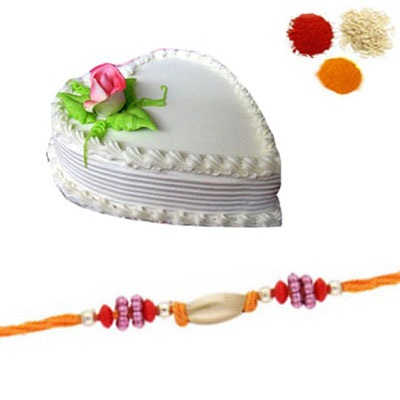 Rakhi with Heart Shape Vanilla Cake
