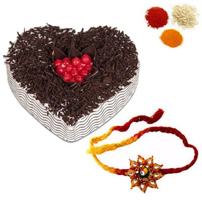 Rakhi with Heart Shape Black Forest Cake