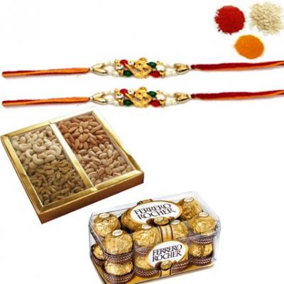 Rakhi with Mixed Dry Fruits and Chocolates