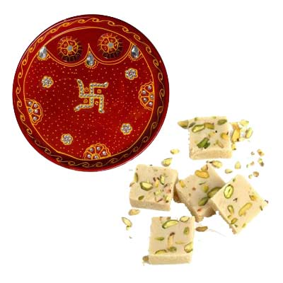 Rakhi Thali with Mawa Burfi