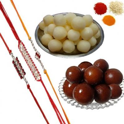 Rakhi Set with Gulab Jamun and Rasgulla