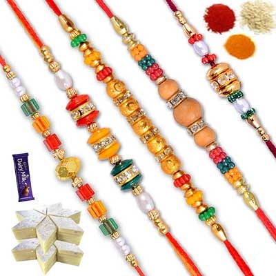 5 Rakhi Set with Sweets and Chocolate