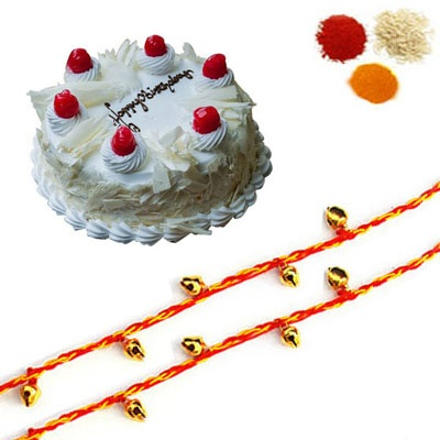 Rakhi with White Forest Cake