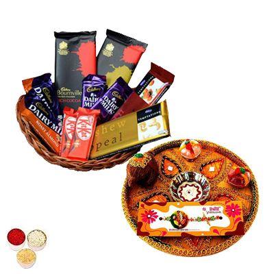 Rakhi Thali with Basket on Indian Chocolates